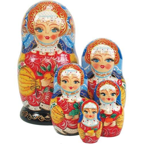 G Debrekht Russia 5 Piece Apple Girl Nested Doll Set