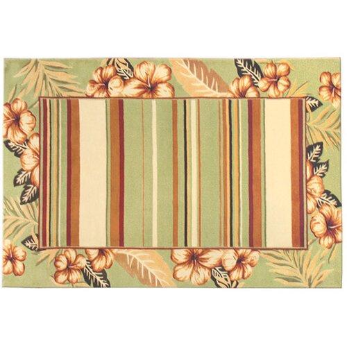Wildon Home ® Green Striped Hibiscus Rug