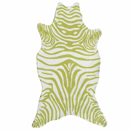 The Rug Market Resort Green Zebra Shaped Outdoor Rug