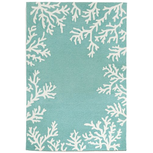 Capri Coral Border Aqua Indoor Outdoor Area Rug Wayfair