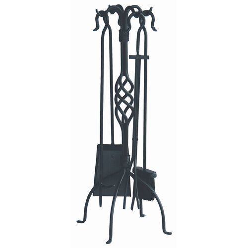 Uniflame Corporation 4 Piece Wrought Iron Fire Tool Set with Center Weave With Stand