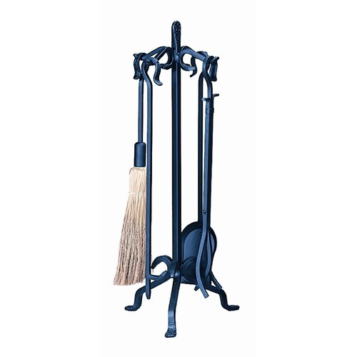 4 Piece Wrought Iron Fireplace Tool Set With Stand