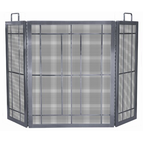 Uniflame Corporation 3 Panel Pewter Fireplace Screen with Handles