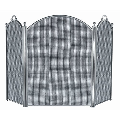 3 Panel Satin Pewter Panel Fireplace Screen
