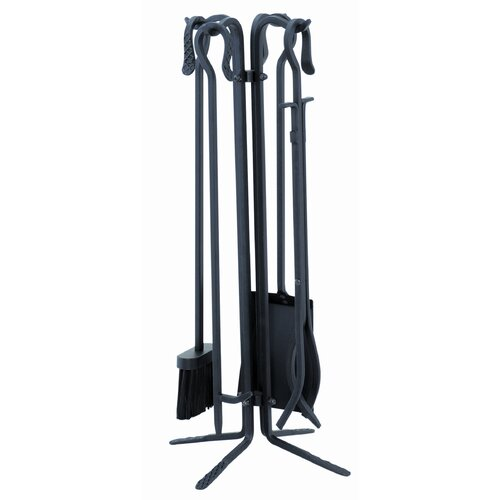 Uniflame Corporation 4 Piece Powdercoat Fireplace Tool Set With Stand