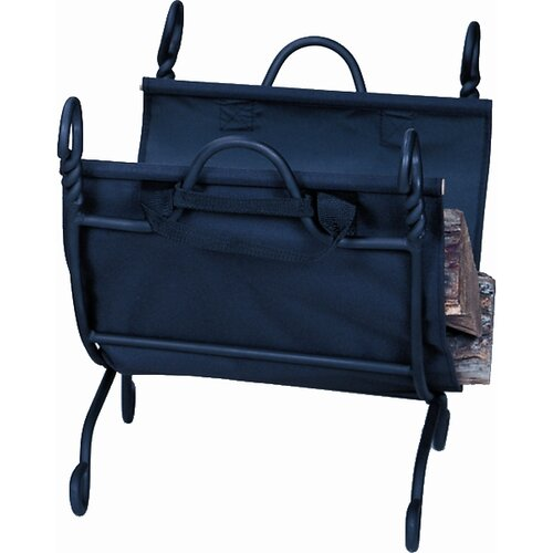 Wrought Iron Ring Swirl Log Rack with Canvas Carrier