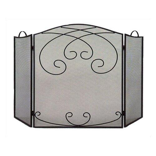 3 Fold Black Arched Ornate Screen