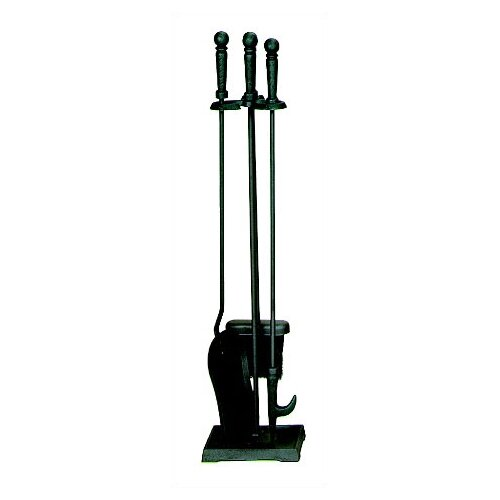4 Piece Black Fireplace Tool Set