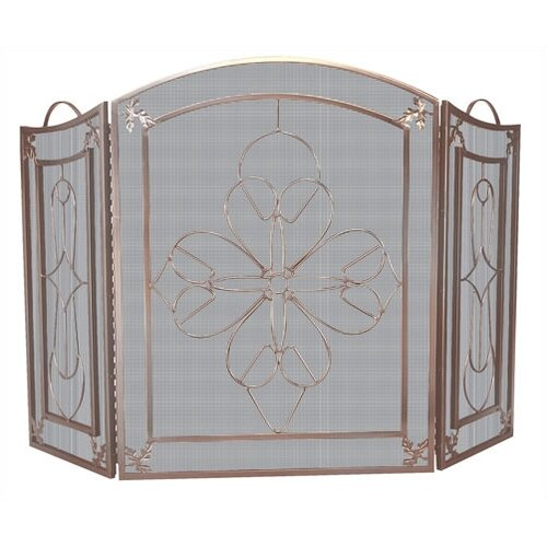3 FOLD VENETIAN BRONZE SCREEN W/ FLORAL DESIGN