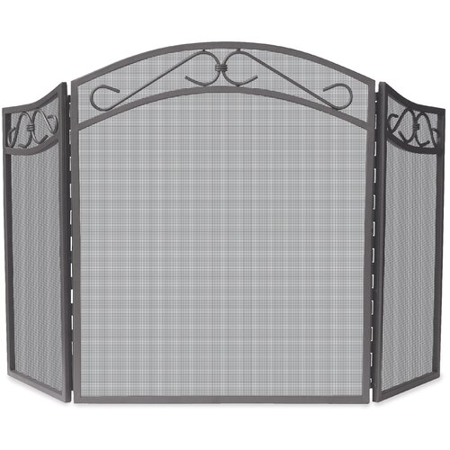 3 Panel Wrought Iron Screen with Scrolls