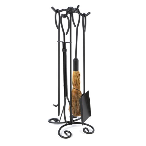 4 Piece Wrought Iron Ring Fireplace Tool Set With Stand