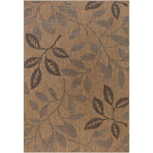 Patio Laurel Leaves Brown/Black Indoor/Outdoor Rug