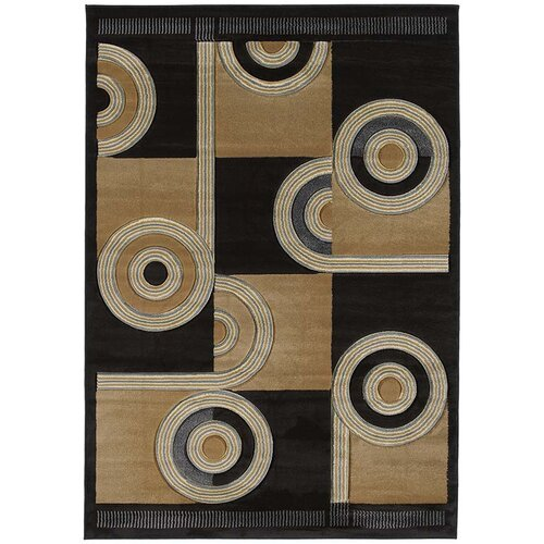 Contours Spiral Canvas Chocolate Rug