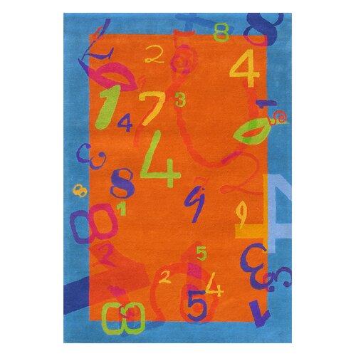 Dynamic Rugs Fantasia Number Orange/Blue Kids Rug