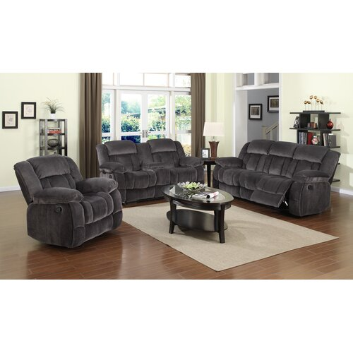 Madison 3 piece reclining living room set wayfair for Living room 3 piece sets