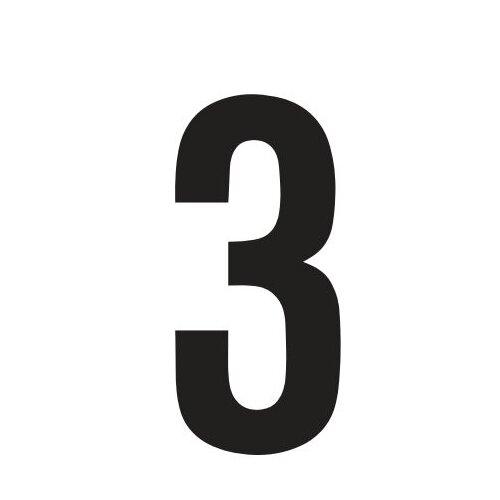 """RZB Aufklebezahl """"3"""" in Schwarz"""
