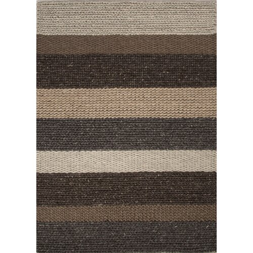 Shelton by rug republic wool textured brown gray area rug for Grey and tan rug