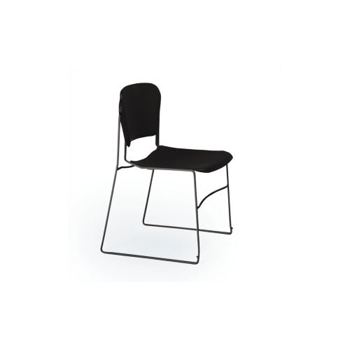 KI Furniture Perry Stack Chair with Black Frame and Black Seat