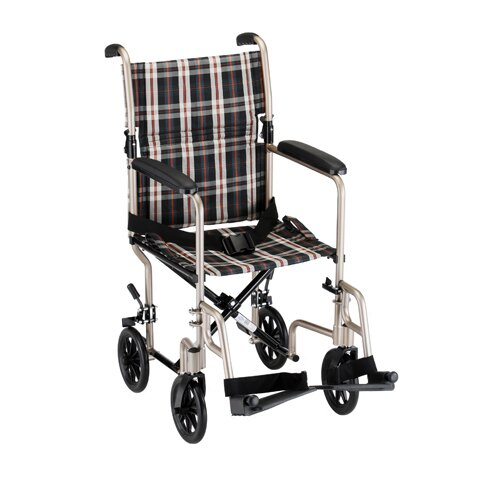 """Nova Ortho-Med, Inc. GO! Mobility 18.5"""" Ultra Lightweight Bariatric Transport Wheelchair with Plaid Upholstery"""