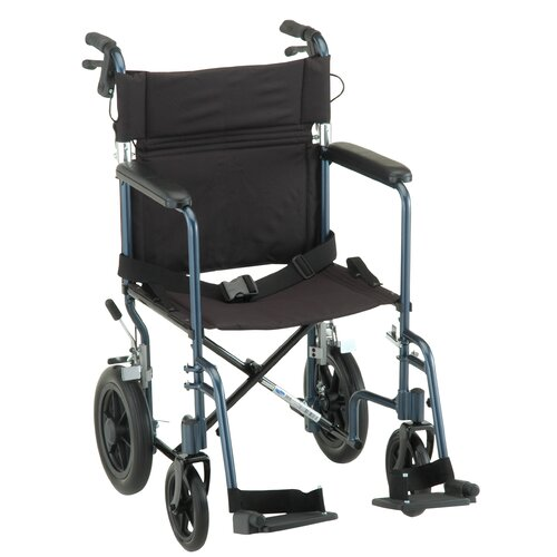 "Nova Ortho-Med, Inc. GO! Mobility Aluminum 20"" Ultra Lightweight Transport Bariatric Wheelchair with Hand Brake and Swing Away Footrest"