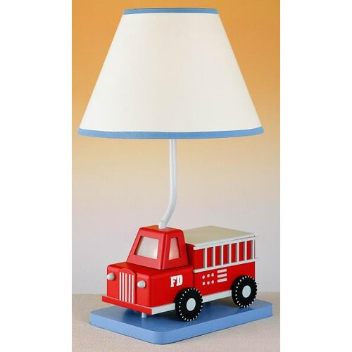 Cal Lighting Juvenile Fire Truck Table Lamp with Night Light