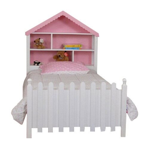 Comfort Decor Color Box Twin Doll House Bed in White/Pink