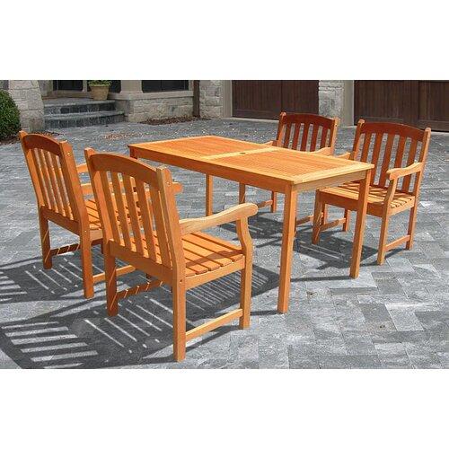 Vifah Outdoor Wood English Garden Dining Set 27