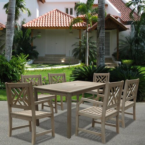 Vifah Renaissance Rectangular Dining Table and Six Cross Armchairs Set