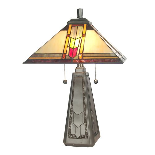 """Dale Tiffany Mallinson 21"""" H Table Lamp with Square Shade"""