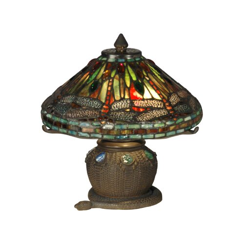 "Dale Tiffany Dragonfly 11.5"" H Table Lamp with Empire Shade"