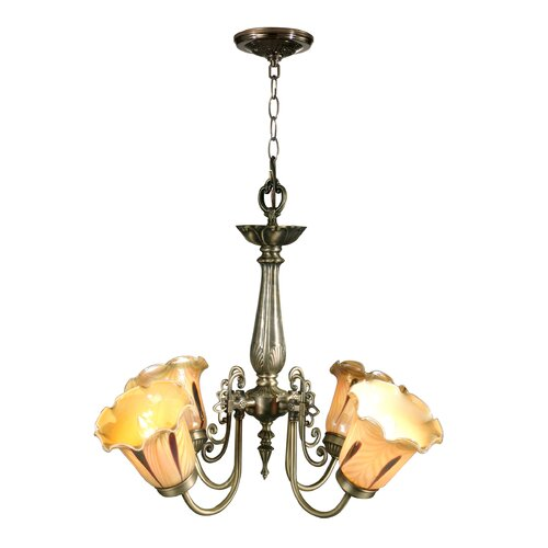 Columbus Tulip Chandelier in Antique Brass
