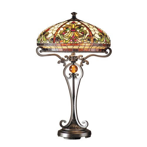 "Dale Tiffany Antiques Roadshow Boehme Series Tiffany 28"" H Table Lamp with Bowl Shade"