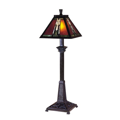 """Dale Tiffany Amber Monarch Buffet 30"""" H Table Lamp with Square Shade"""