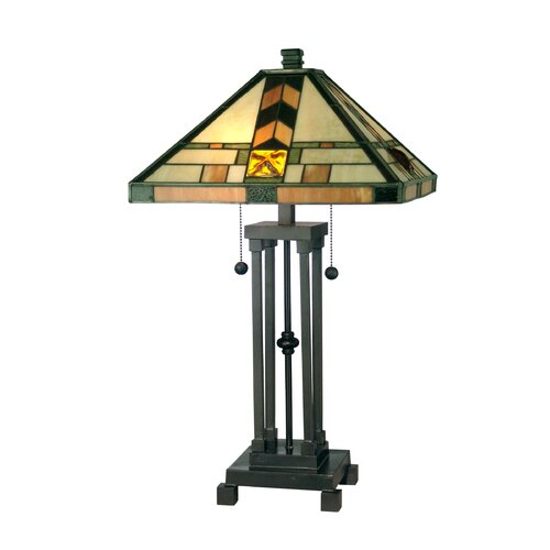 "Dale Tiffany Mission 25.25"" H 2 Light Table Lamp"