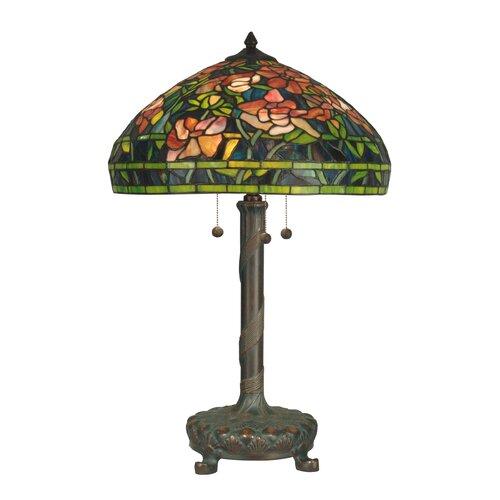 "Dale Tiffany 27"" H Antique Art Glass 3 Light Table Lamp"