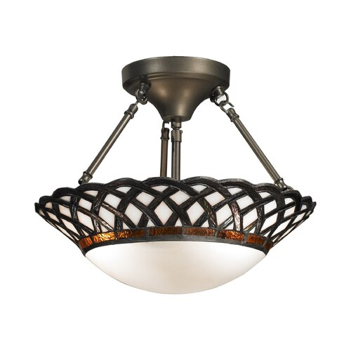 Dale Tiffany Hillcrest 2 Light Semi-Flush Mount