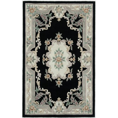 Rugs America New Aubusson Black Rug