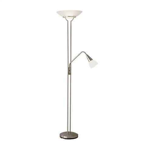 Adesso Cupola Combo Torchiere Floor Lamp with Gooseneck Reading Light