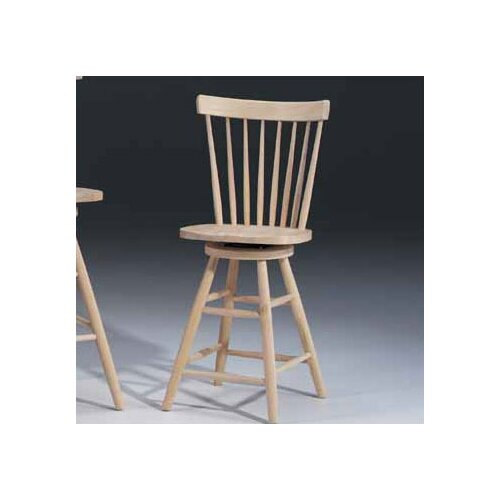 "International Concepts Unfinished Wood 24"" Swivel Bar Stool"