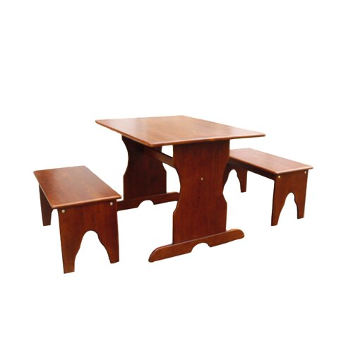 International Concepts Kids 3 Piece Rectangule Table and Bench Set