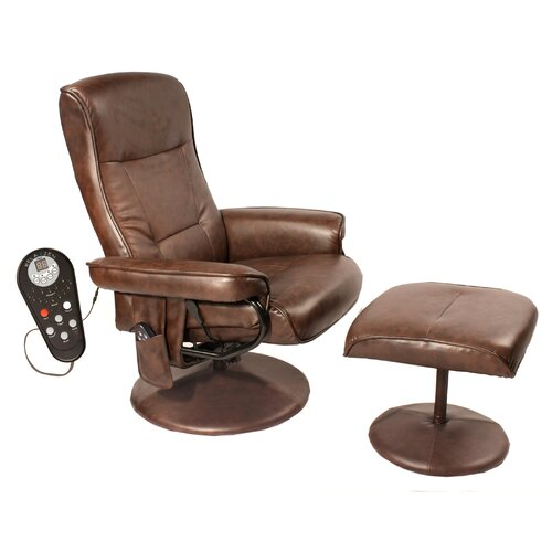 Comfort Products Relaxzen Leisure Reclining Heated Massage Chair with Ottoman