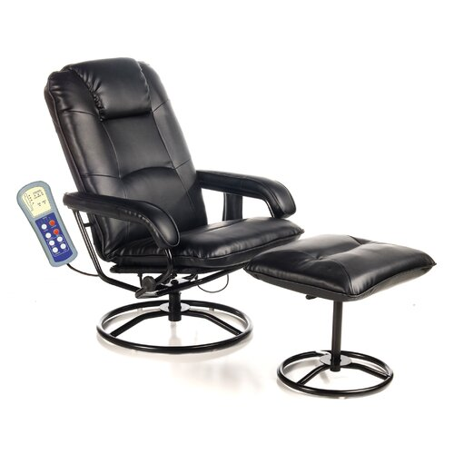 Comfort Products Leisure Heated Reclining Massage Chair With Ottoman Re