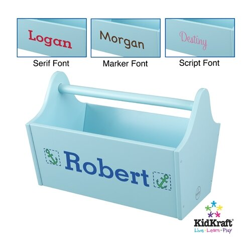 KidKraft Personalized Toy Box Caddy in Ice Blue