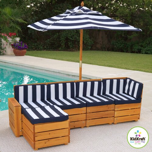 Kids Outdoor 5 Piece Sectional Seating Group with Cushions