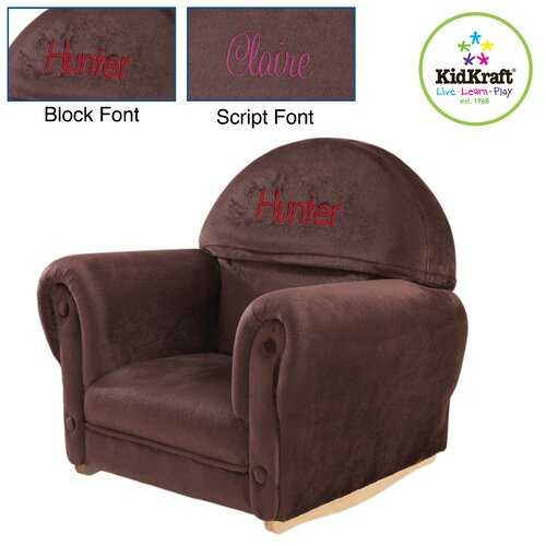 KidKraft Personalized Chocolate Velour Rocker with Slip Cover