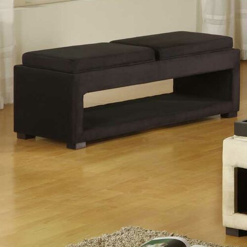 Cancun Microfiber Double Tray Storage Bench in Black
