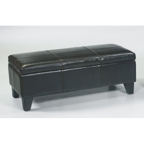 Armen Living Leather Entryway Storage Ottoman