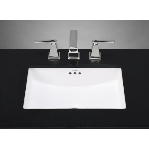 Ronbow Rectangle Ceramic Undermount Bathroom Sink with Overflow in ...