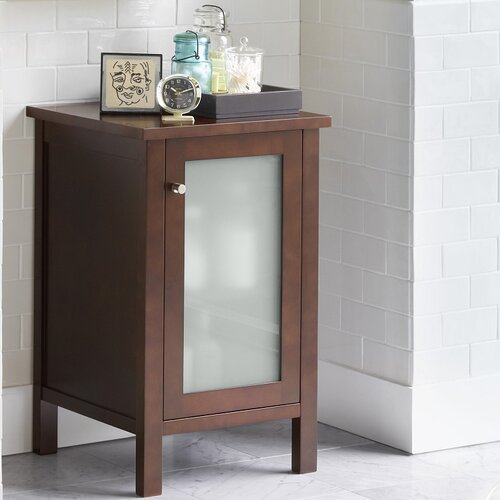 bathroom side cabinet with frosted glass door in dark