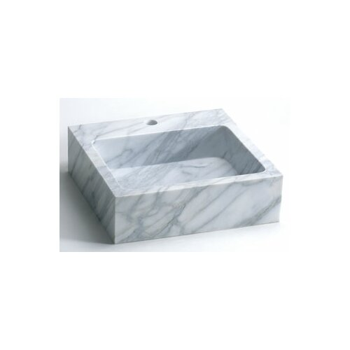 Rectanglular Marble Vessel Bathroom Sink with Single Faucet Hole